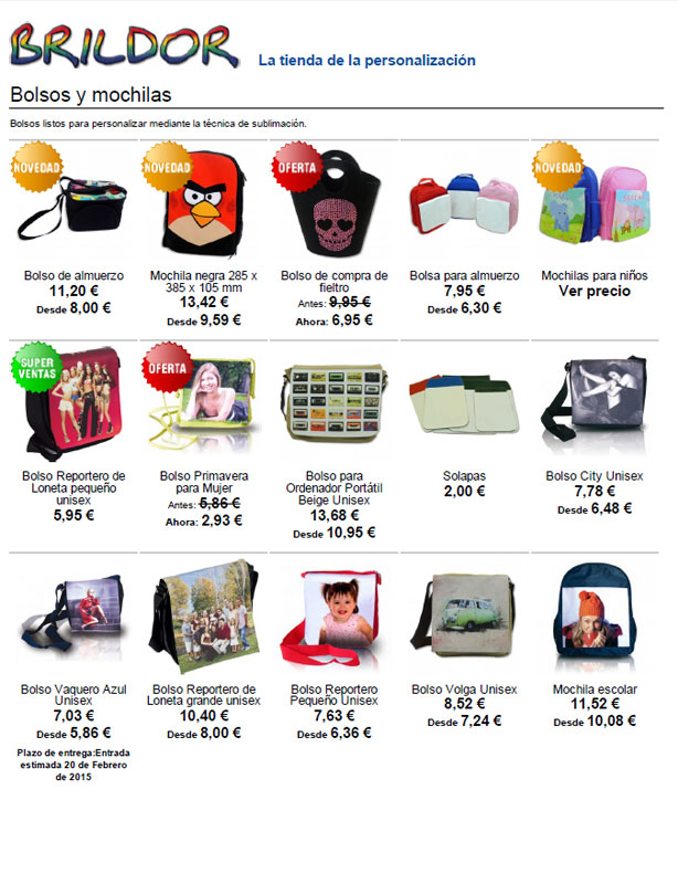 Catálogo de bolsos personalizables Brildor