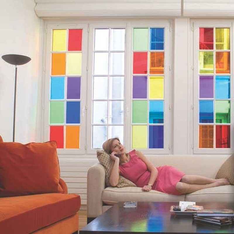 Vinilo decorativo para cristales en colores