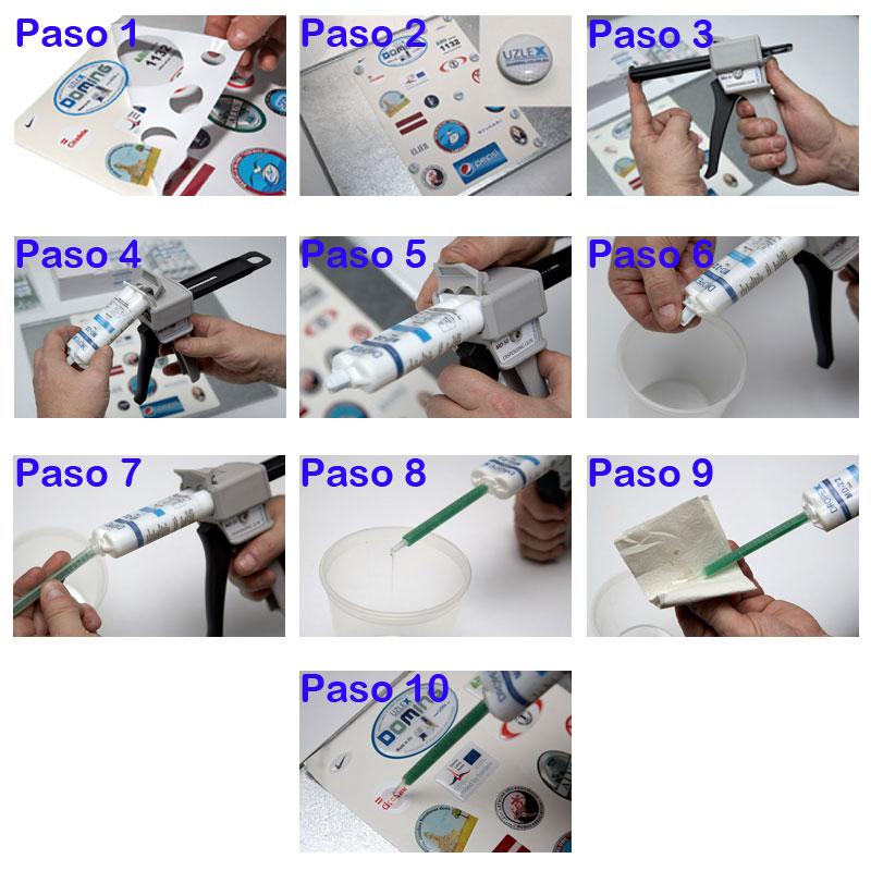 instrucciones de aplicación de la gota de resina