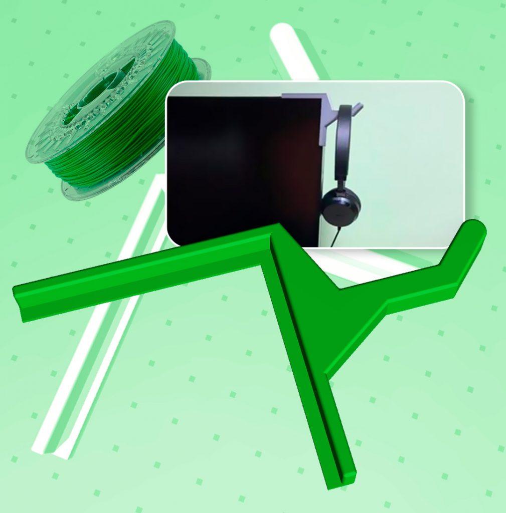 Soporte auriculares 3D para monitor