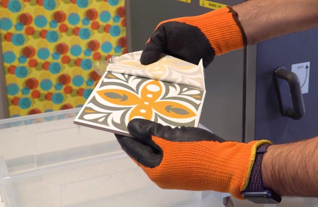 Sublimación de azulejo con bolsas termoencogibles y horno
