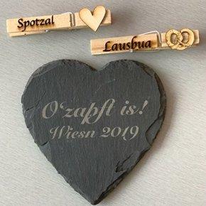 Pinzas y piedra pizarra grabado láser