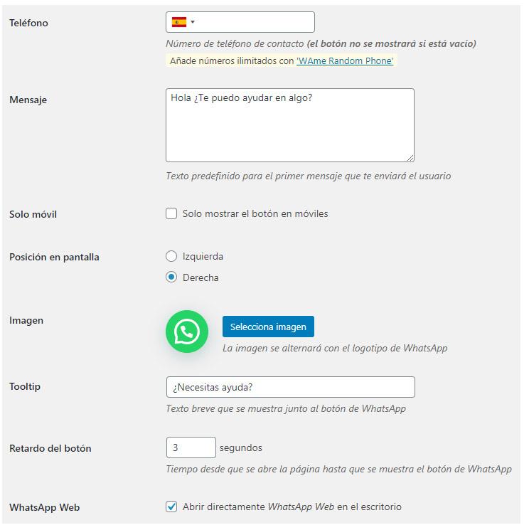 Configuración whatsapp business