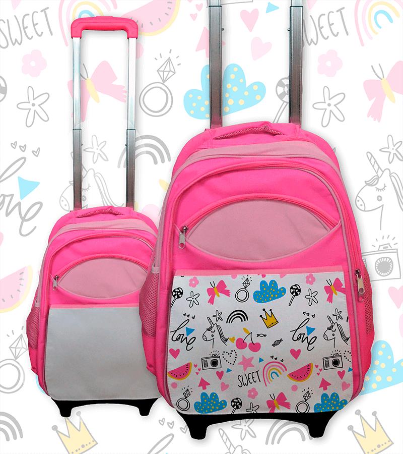 mochila de ruedas personalizada con sublimación