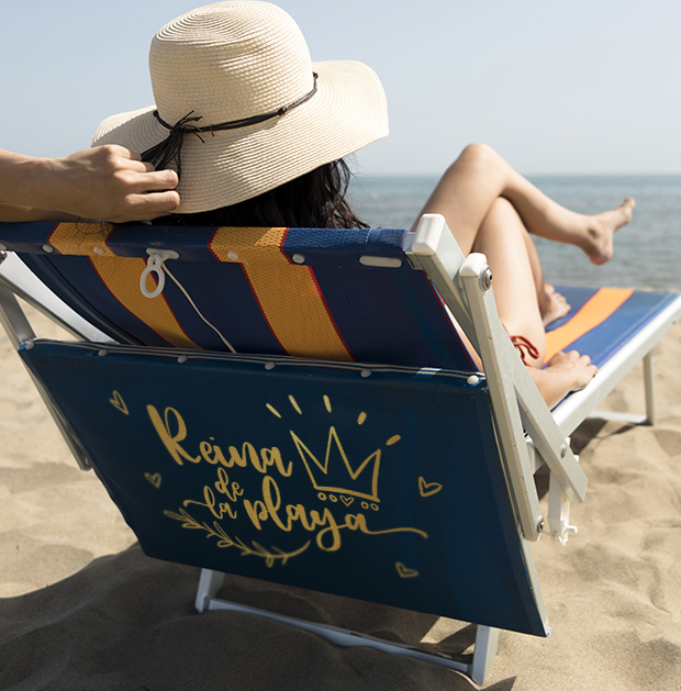 Hamaca de playa personalizada con el vinilo especial para exteriores