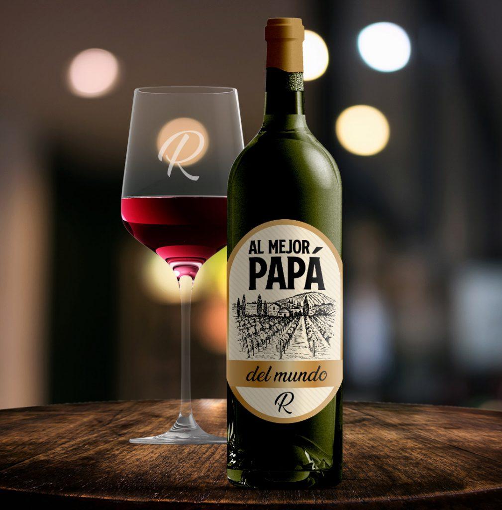 Botella de vino y copa personalizada para el día del padre