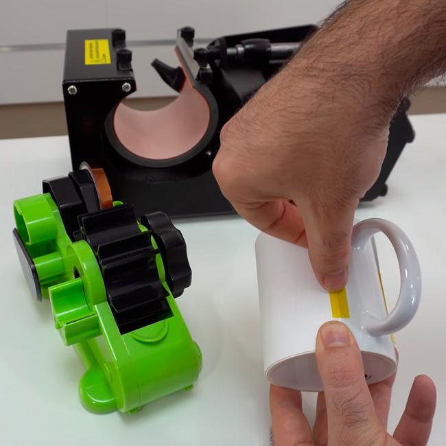 Plancha transfer para tazas, taza con adhesivo protector