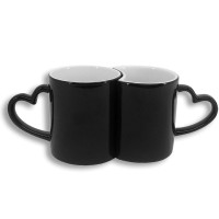 Set de 2 tazas mágicas negras con asa corazón