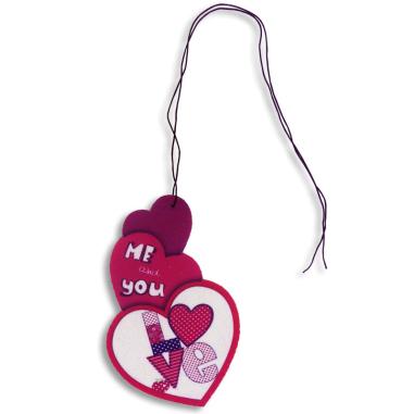 Ambientador de fieltro forma tres corazones - Personalizado