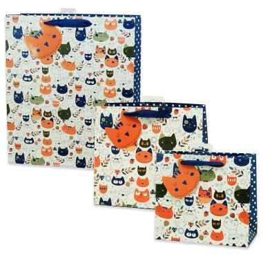 Bolsas de regalo diseño gatos - Pack de 5 uds