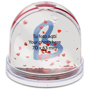 Bola de nieve corazones rojos con foto