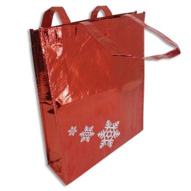 Bolsa navideña roja con estrellas de nieve