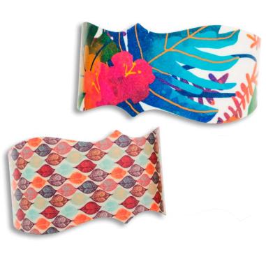Brazaletes Chromaluxe de corte con formas - Detalle ejemplos personalizados