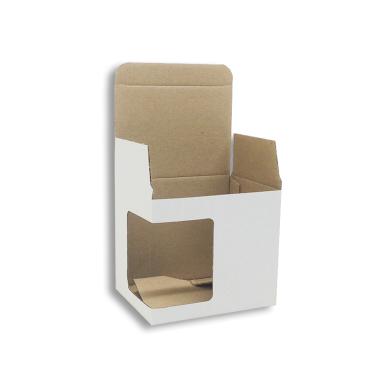 Caja blanca automontable con ventana para tazas - Pack de 50 uds