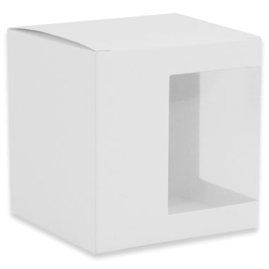 Caja individual para taza con ventana de plástico