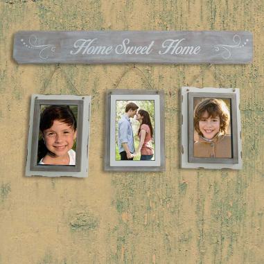 """Colgador con 3 portafotos """"Home sweet home"""""""