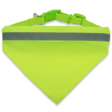 Collar para perro amarillo flúor con pañuelo y banda reflectante