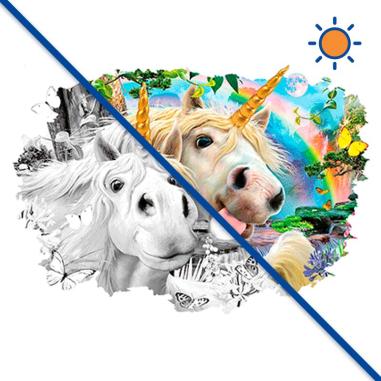 Diseño transfer Solar Selfie Unicorn