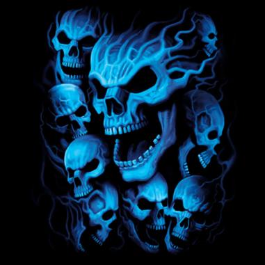 Diseño Transfer Blue Skulls