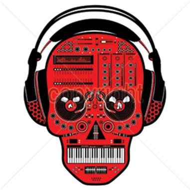 Diseño Transfer Calavera DJ con auriculares - Pack 4 uds