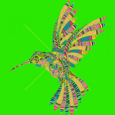 Diseño Transfer Colibrí mosaico - Sobre tejido de color