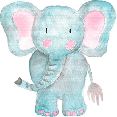 Diseño Transfer Elefante acuarela - Pack 3 uds