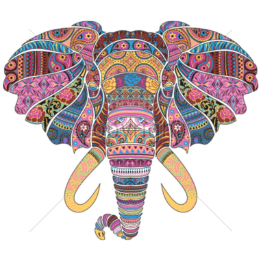 Diseño transfer Elefante mosaico - Pack de 4 uds