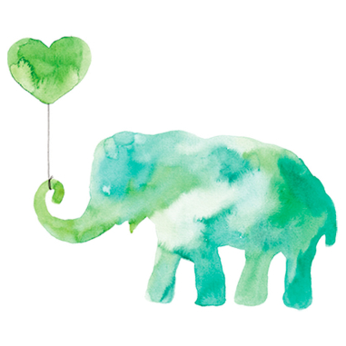 Diseño Transfer Elefante verde acuarela - Pack 3 uds