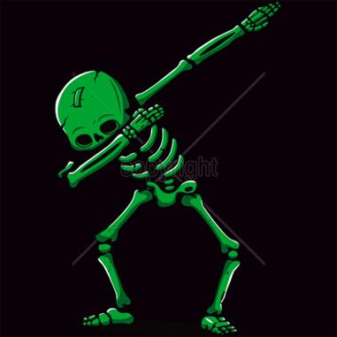 Diseño Transfer esqueleto verde - Sobre tejido oscuro