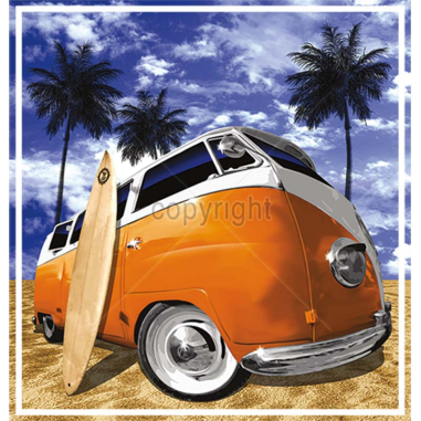 Diseño transfer furgoneta surf - Pack de 4 uds - Sobre tejido blanco