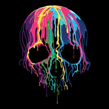 Diseño Transfer Melting Skull - Sobre tejido negro