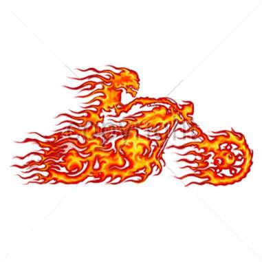 Diseño Transfer Moto en llamas pack 4 uds