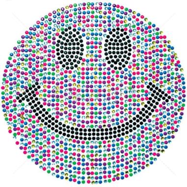 """Diseño Pedrería """"Happy Face"""" Neón multicolor"""