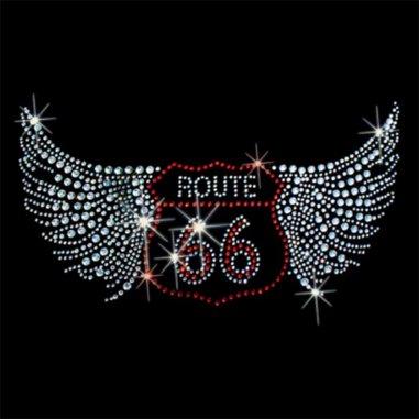 Diseño pedrería señal Route 66 con alas