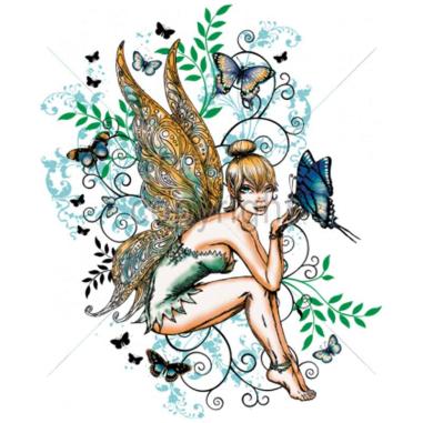 Diseño Transfer Hada con mariposas pack 4 uds