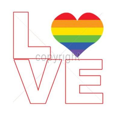 Diseño Transfer I love corazón bandera Gay pack 4 uds