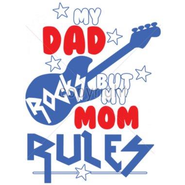 "Diseño transfer ""My dad rocks but my mom rules"" - Pack de 4 uds"