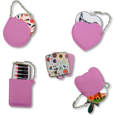 Estuches de cuero rosa con espejo - Personalizados