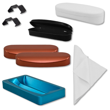 Estuche de gafas y sus moldes - estuche, componentes y moldes