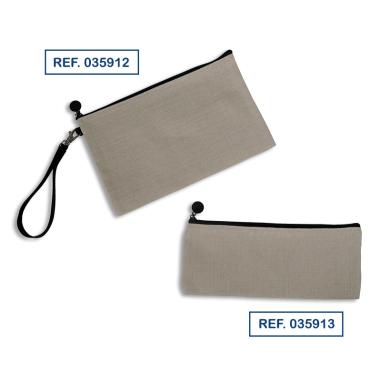Estuches de tejido símil lino con cremallera