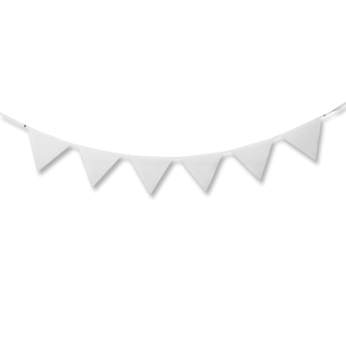 Guirnalda de tela para sublimación con 6 banderines colgada