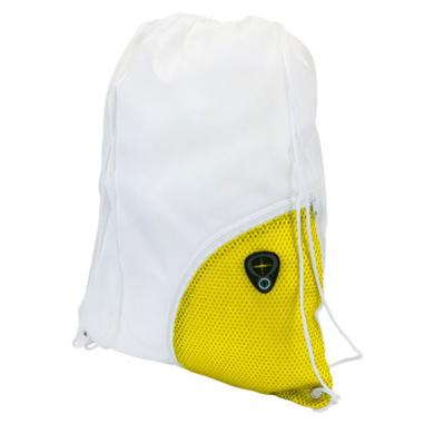 Macuto de poliéster 210T combinado Blanco Amarillo