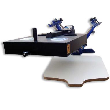 Máquina de serigrafía manual de sobremesa de 2 colores con lámpara para secado