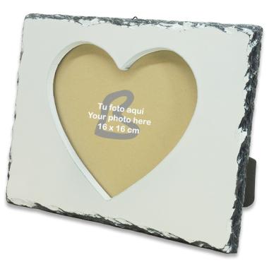Marco portafotos para sublimación de piedra pizarra corazón