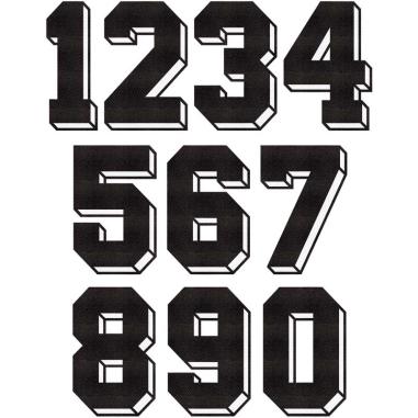 Números Dorsales Termoadhesivos de Tela Block 3D Negro