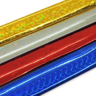 Papel de regalo metalizado - Pack de 4 hojas en colores holográficos surtidos