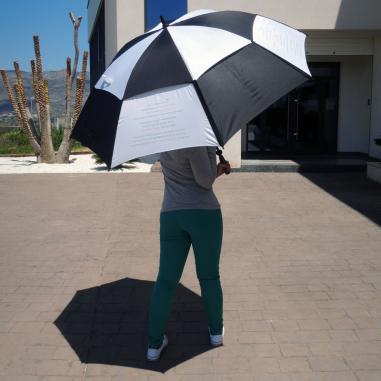 Paraguas con sistema antiviento reforzado blanco/negro