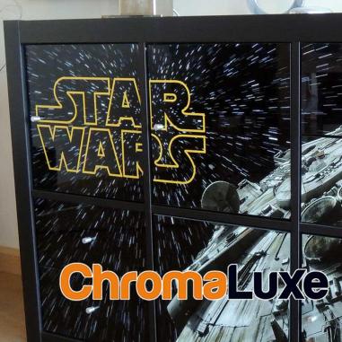Panel de aluminio Chromaluxe blanco brillo compatible puerta estantería Kallax - En mueble