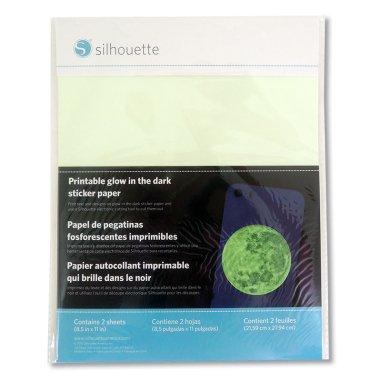 Papel adhesivo imprimible luminiscente Silhouette - Pack 2 hojas de 216x279mm