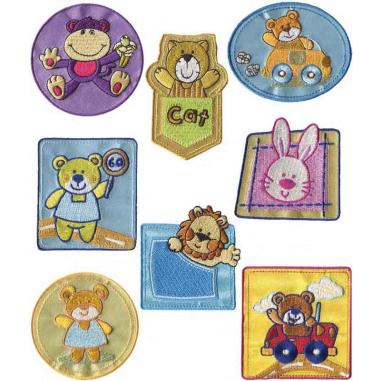 Parches bordados Animales infantiles Surtido 8 uds